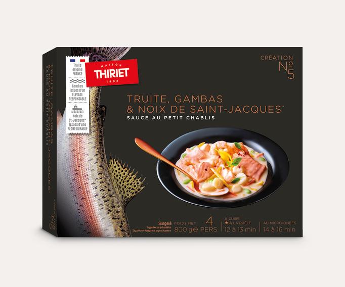 Truite, gambas & noix de St-Jacques* sauce au Petit Chablis