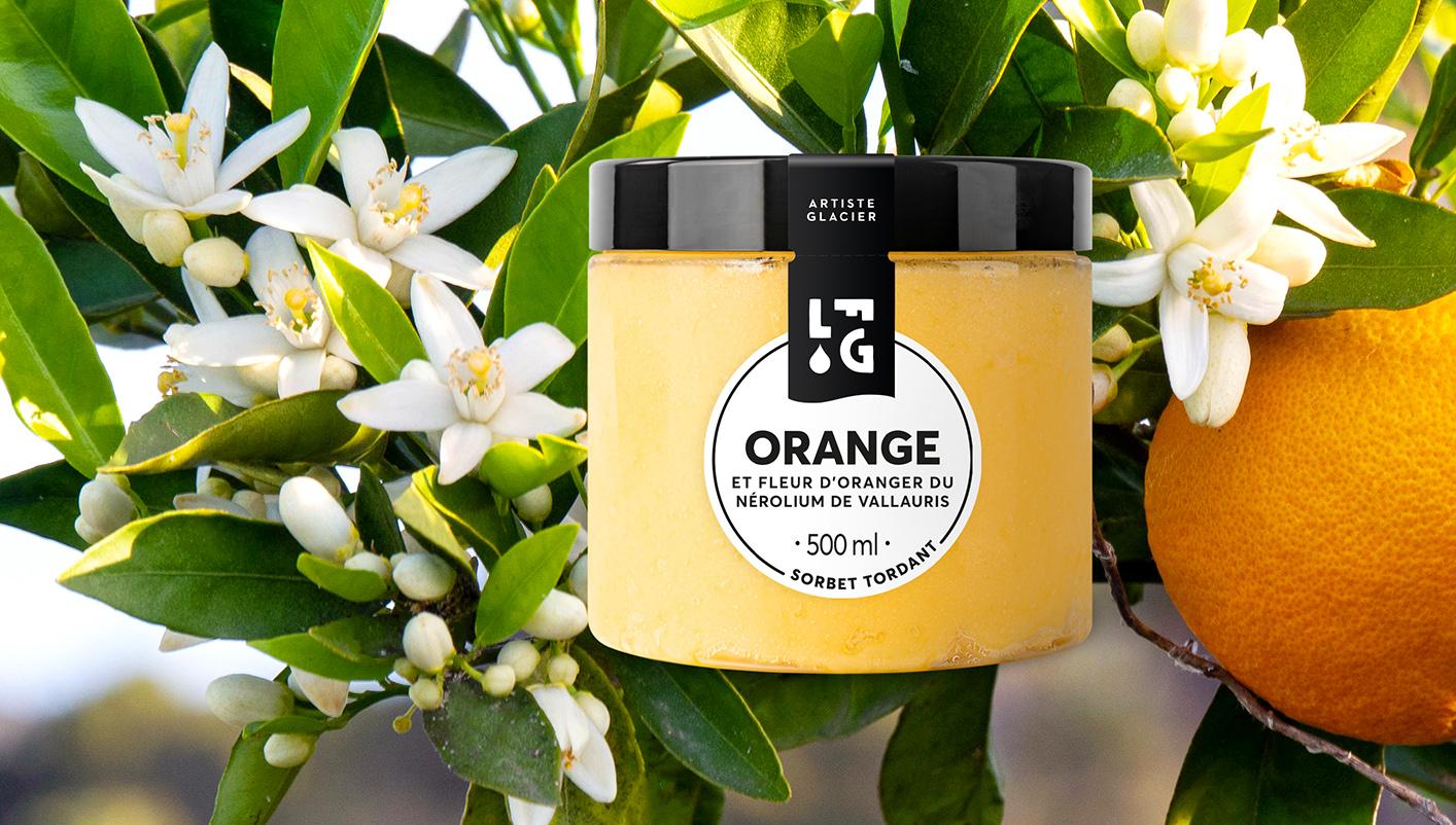 Sorbet Plein Fruit artisanal orange et fleur d'oranger