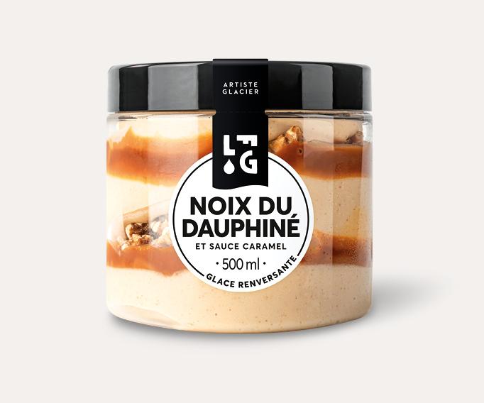 Glace artisanale noix du Dauphiné et sauce caramel