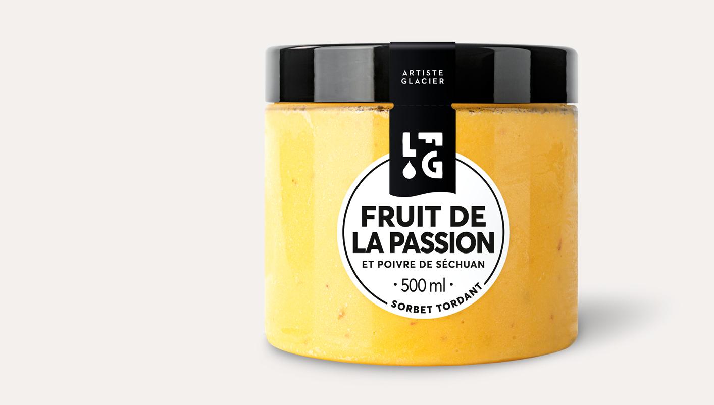 Sorbet Plein Fruit artisanal fruit de la passion et poivre