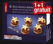 6 Mini étoiles dorées foie gras canard : 1 acheté=1 gratuit