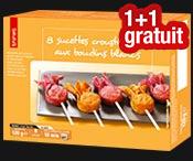 8 sucettes croustillantes : 1 boite achetée = 1 gratuite !