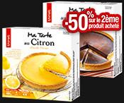 Tarte chocolat/citron : 1 boite achetée = 1 boite à -50% !