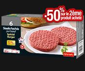 2 Steaks burger 300 g : 2  boites achetées = 1 gratuite !