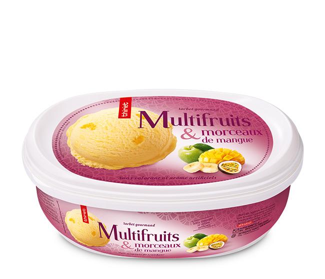 Sorbet Multifruits et morceaux de mangue