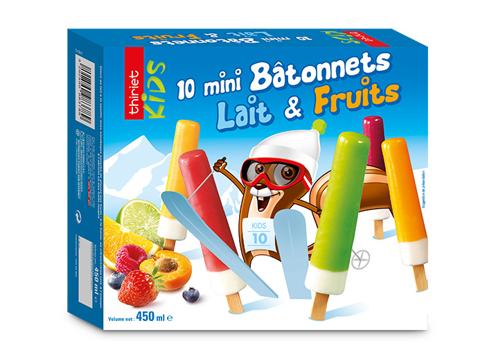 10 Mini bâtonnets lait et fruits