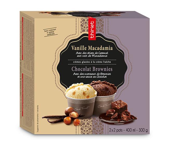 4 Pots ind. Vanille macadamia/Chocolat brownies
