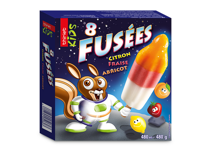 8 Fusées citron/fraise/abricot