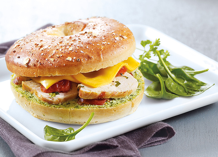Bagel poulet/fromage/tomates