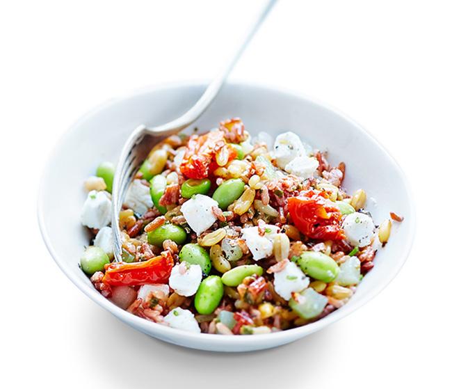 Salade de blé khorasan, riz rouge et fève de soja