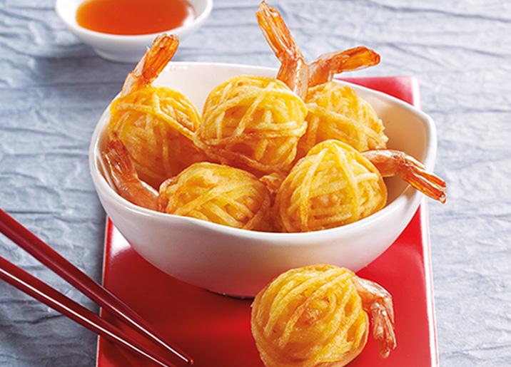 6 Crevettes en fils de pommes de terre