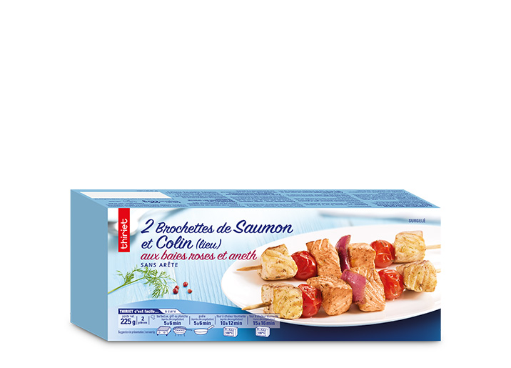 2 Brochettes saumon/colin lieu baies roses-aneth