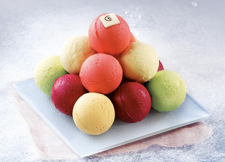 Cascade de crèmes glacées et sorbets