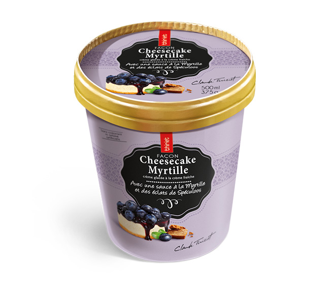 Pot Crème Glacée Façon cheesecake Myrtille