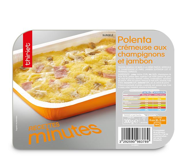 Polenta crémeuse aux champignons et jambon