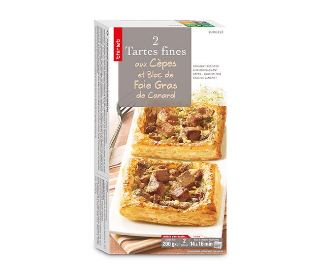 2 Tartes fines cèpes/bloc de foie gras de canard