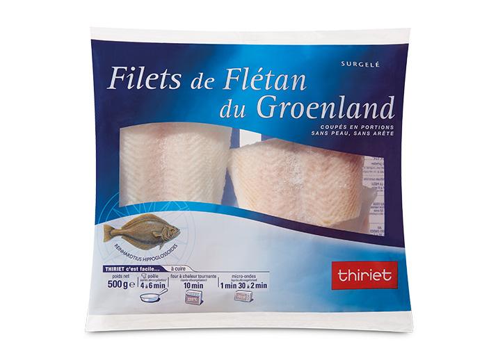 Filets de flétan du Groënland coupés en portions