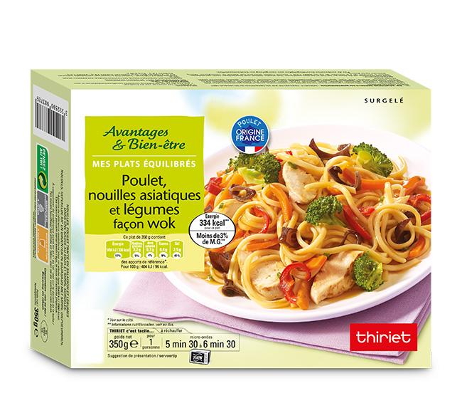 Poulet, nouilles asiatiques et légumes façon wok