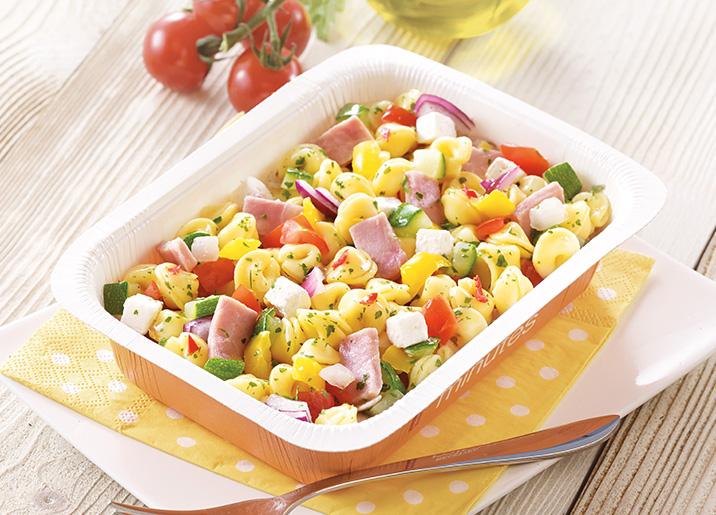 Salade de p tes au jambon et fromage de brebis surgel gamme entr es snacking tartes sur - Salade de pates jambon ...
