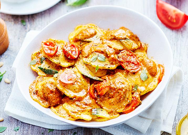 Ravioli ricotta/tomates marinées sauce pesto