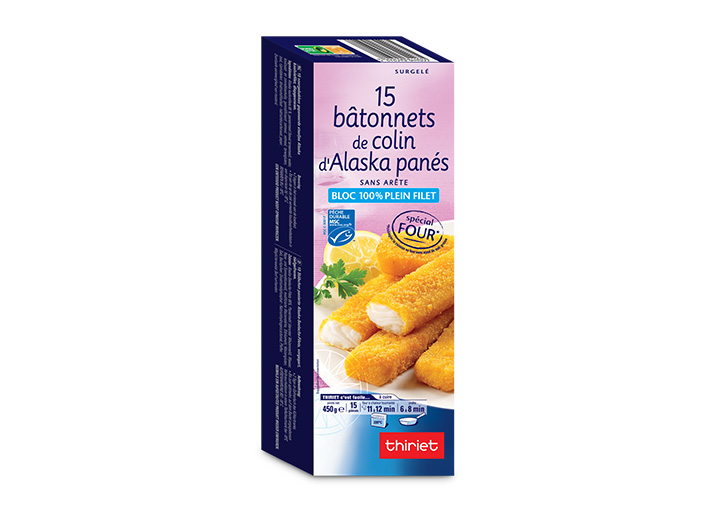 15 Bâtonnets de colin d'Alaska panés