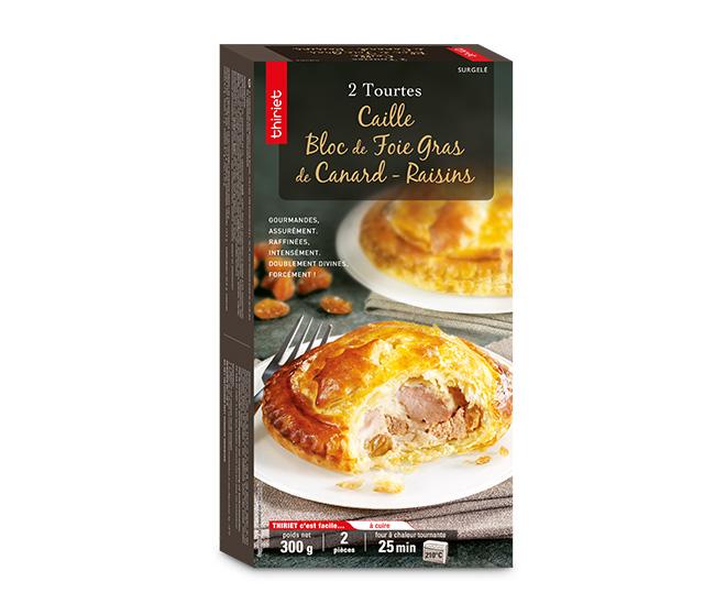 2 Tourtes caille/bloc de foie gras de canard