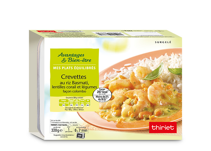 Crevettes au riz basmati, lentilles corail/légumes