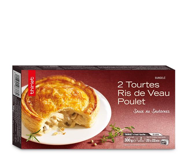 2 Tourtes ris de veau et poulet sauce au Sauternes