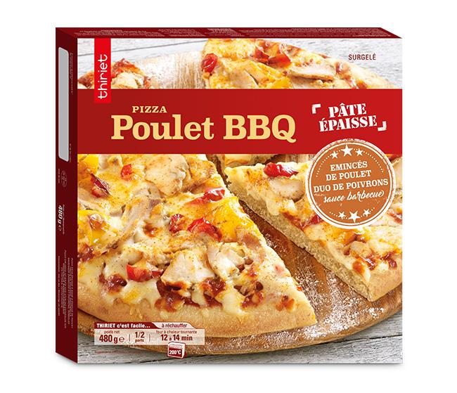 Pizza pâte épaisse poulet barbecue