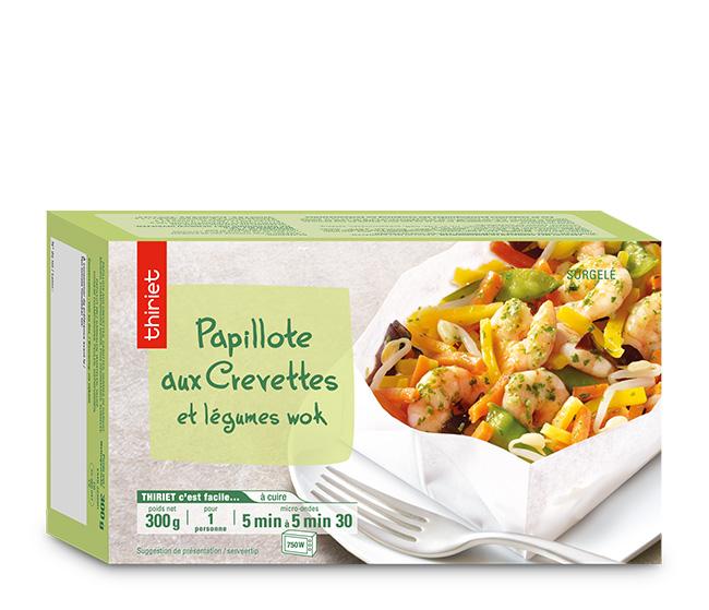 Papillote aux crevettes et légumes wok