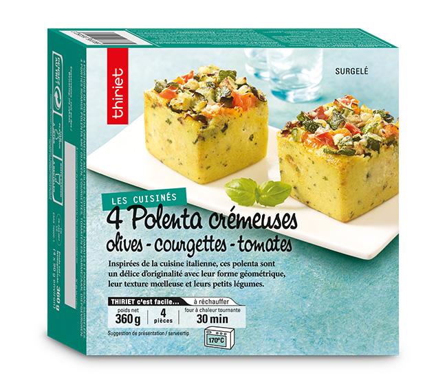 4 Polenta crémeuses olives, courgettes, tomates