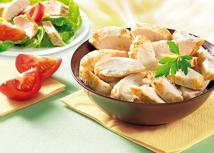 Aiguillettes de poulet rôties coupées