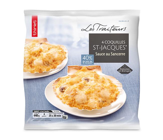 4 Coquilles St-Jacques (noix 40%) sauce Sancerre