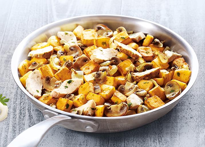 Pommes de terre, poulet et champignons