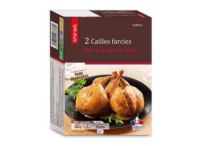 2 Cailles farcies, farce au foie gras canard