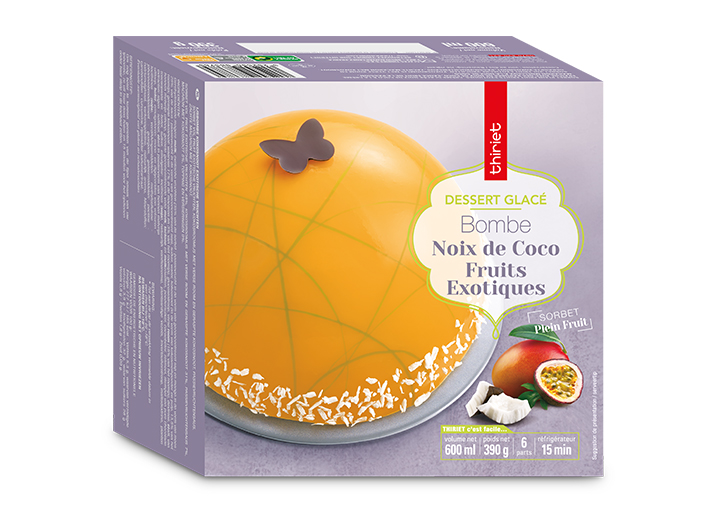 Bombe glacée noix de coco/fruits exotiques