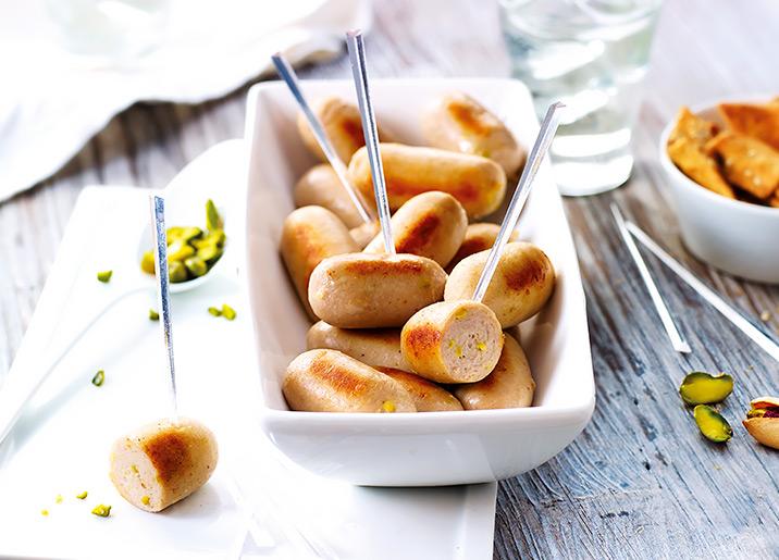16 Mini boudins blancs aux éclats de pistache