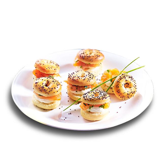 8 Mini bagels au saumon fumé