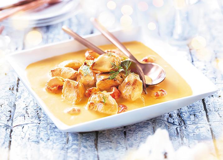Poulet aux écrevisses, sauce crustacés