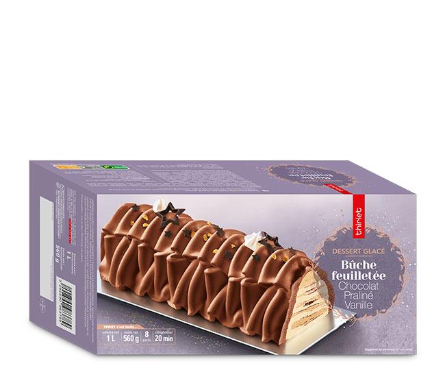 Bûche feuilletée chocolat/praliné/vanille