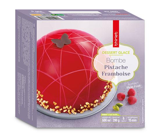 Bombe glacée pistache/framboise