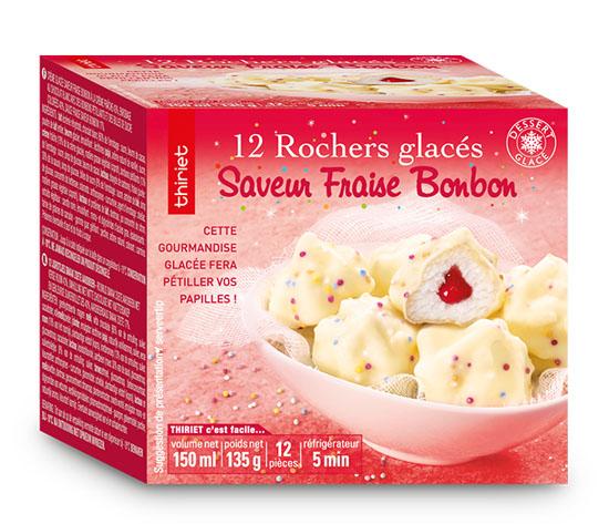 12 Rochers glacés saveur fraise bonbon