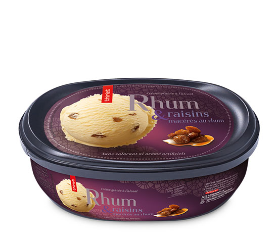 Crème glacée Rhum et raisins macérés au rhum