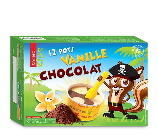 12 Pots Vanille/chocolat 'spécial enfants'