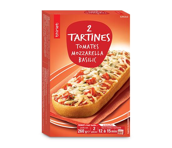 2 Tartines mozzarella, tomates, basilic