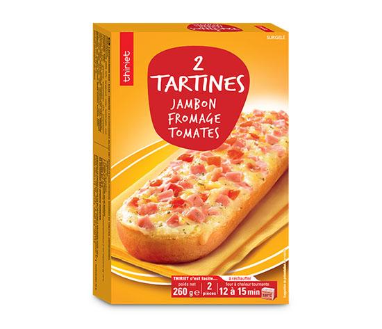 2 Tartines jambon/fromage/tomates