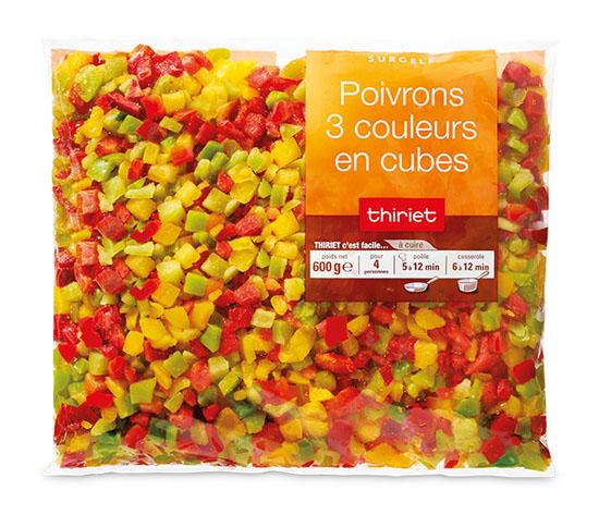 Poivrons 3 couleurs en cubes