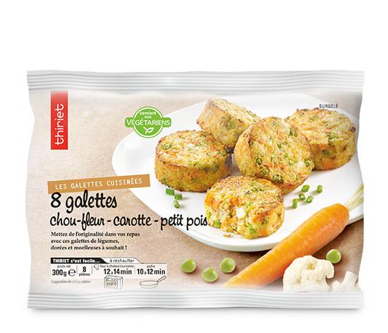 8 Galettes chou-fleur, carotte, petit pois