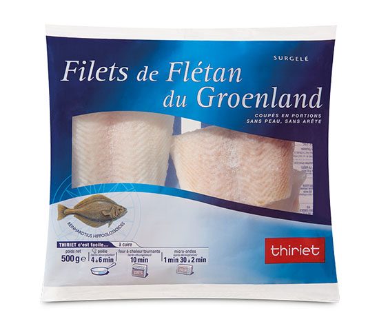Filets de flétan du Groënland coupés en portions