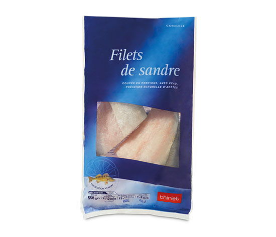 Filets de sandre coupés en portions
